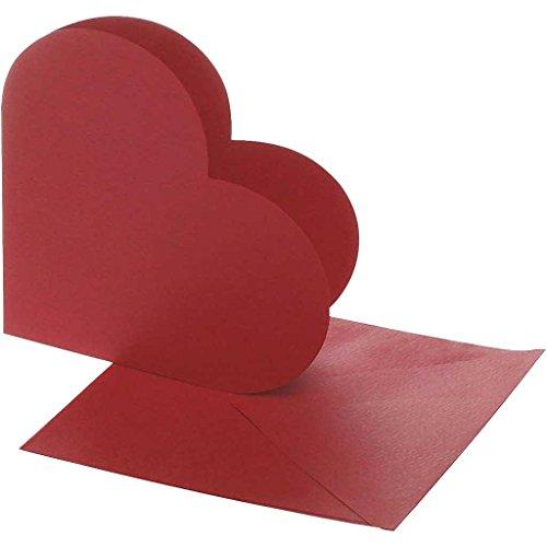 Preisvergleich Produktbild Karten in Herzform, Kartengröße 12,5x12,5 cm, Umschlaggröße 13,5x13,5 cm, rot, 10Sets