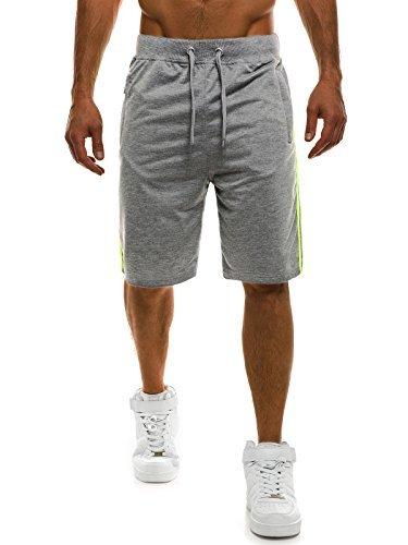 OZONEE Herren Hose Shorts Kurzhose Sporthose Fitness Freizeitshorts Jogginghose Bermudas STREET STAR 7105 GRAU 2XL