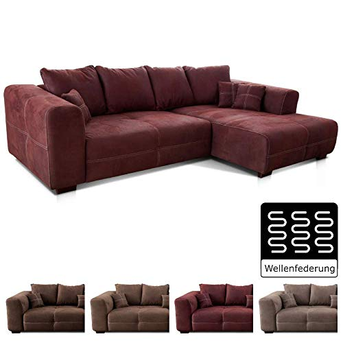 Cavadore Ecksofa Mavericco / XXL Eckcouch Inkl. Rückenkissen und Zierkissen / Longchair rechts / Industrial Style / 285 x 69 x 170 (BxHxT) / Mikrofaser Rot (bordeaux)