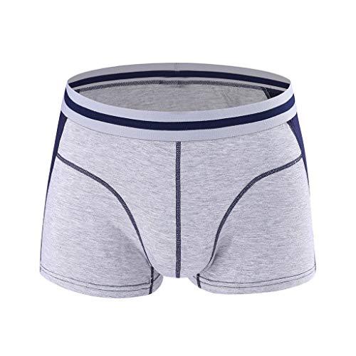 Herren Boxershorts Männer Unterhose Pure Slip Soft Bequem Atmungsaktiv Unterwäsche Bambus Viele PPangUDing Kurz Hose Natural Shorts Hipster Basic Retro Lace (XXL, Grau) -