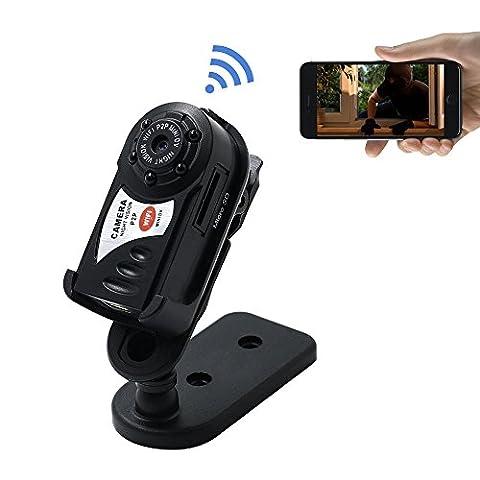 TANGMI Mini HD Wifi Spy Caméra Portable P2P WiFi Caméra IP Hidden DV DVR Caméra Caméra Enregistreur Vidéo Caméra Espion Nuit Vision Infrarouge Support Iphone / Android Caméscope Enregistreur
