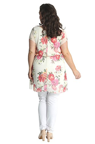 Womens Plus Size rose Print chiffon Dress Nouvelle Sahne