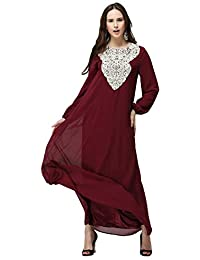 7e732583aae8 Ansemen Abito da Donna Musulmana - Elegante Vestito a Maniche Lunghe Arabo  Abaya Islamico Abbigliamento Etnico