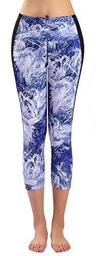 Sugar Pocket Womens Yoga Capris Running Pants Workout Legging Tummy Control with Side Pocket
