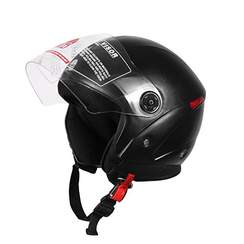 JMD Helmets Jmd Unisex Grand Open Face Helmet, Medium(Black)