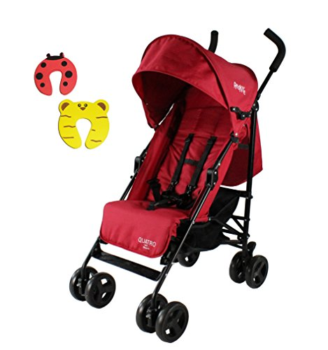 Red Kite Push Me Multi Position Quatro Stroller Buggy - Suitable For New Born - Cherry - Incs 2 Foam Doorstoppers
