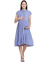Mine4Nine Women's Rayon Maternity Midi Dress (Sky Blue, MNDR4707)