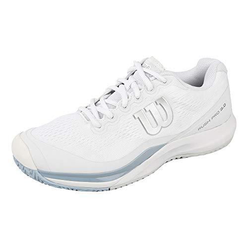 WILSON Damen Rush PRO 3.0 W Tennisschuhe Synthetik, Für alle Bodenbeläge, Alle Spielertypen, Weiß/Blau/Blau, 39 EU