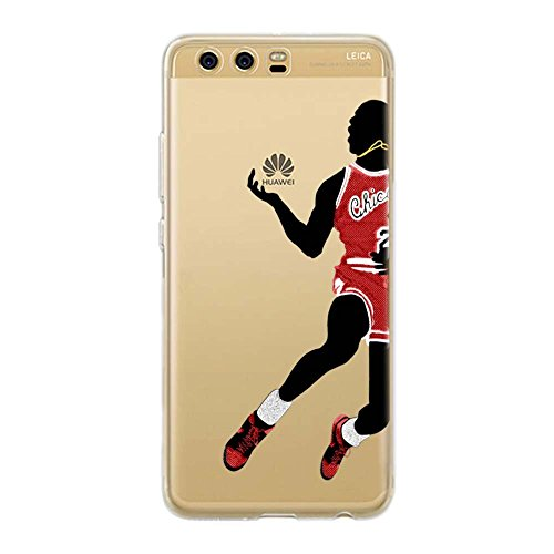 Basketball-telefon (P10 TPU DURCHSICHTIG Softcae Protective Schutzhülle Handycover Etui Bumper Staubdicht Telefon-Kasten Case Shell Abdeckung Bumper Back Cover, NBA Basketball, Jordan Collection Sammlung, Huawei P10)