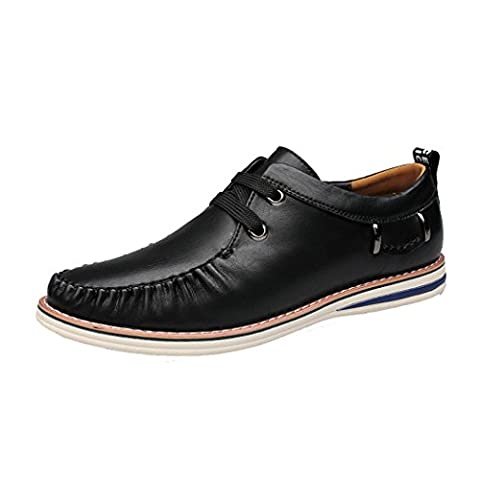 Spades & Clubs Mens Trendy Spring Italian Style Genuine Casting Leather Vogue Casual Soft Loafers Shoes Size 10 UK Black