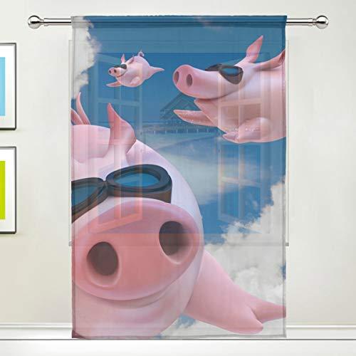 """DOSHINE Cortinas Transparentes Divertidas con diseño de Cerdo Volador para Puertas, Ventanas, dormitorios, baños, cocinas, Salones de 55 x 78 Pulgadas, 1 Panel, poliéster, 55""""x 84"""""""