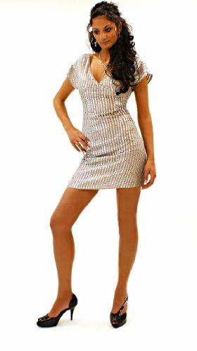 Elégant Lipsy paillettes Argent Mini-robe (219) Argenté