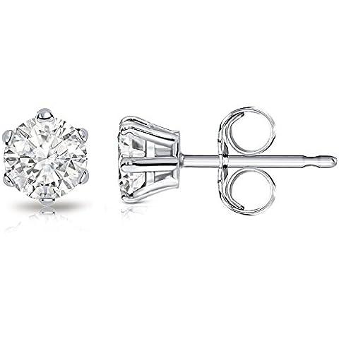 Billie Bijoux Pendientes de Mujer de Plata de Ley 925 con Circonitas Diamante de Corte Redonda, Joyería Mujer