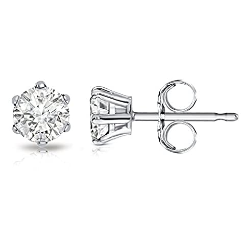 Billie Bijoux Sterling Silver Earrings Studs with Round Cut Cubic Zirconia Diamond Rhinestone, Womens Fine Jewelry, a great ideal gift for your Wife/ Girlfriend/ Sister/ Mom and Daughter on Birthday/ Valentines Day/ Graduations/ Mother's Day/ Thanksgiving Day and Christmas Day,3-7MM