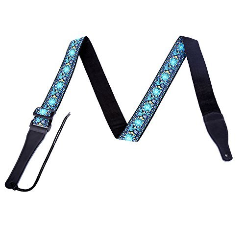 CAHAYA Gitarrengurt Luxuriösem Jacquard Muster Weave E-Gitarrengurt universell einstellbar Lange (105-170cm) für Ukelele, Klassische Gitarre, Akustik - Blau