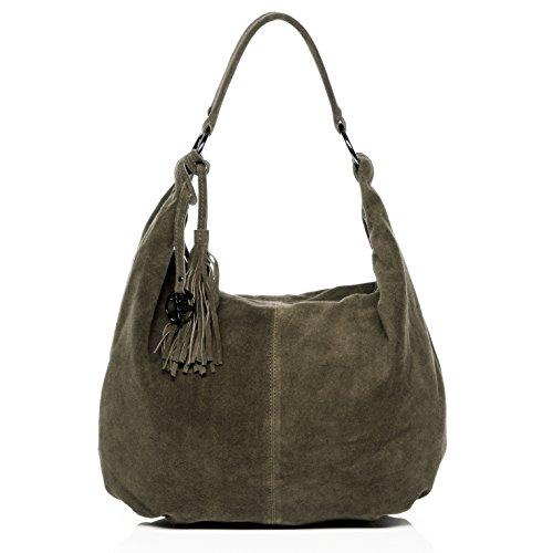 BACCINI Schultertasche SELINA - Handtasche groß - Damentasche echt Wildleder blau olive