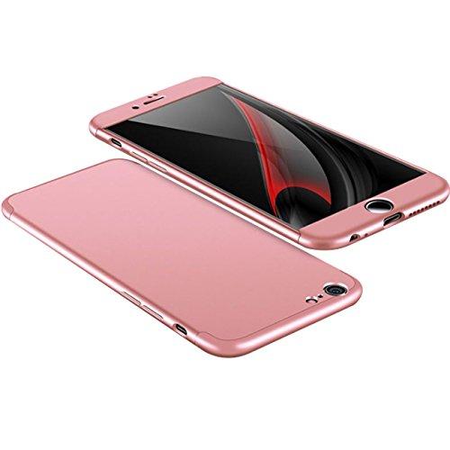 Custodia iPhone 6 Plus ,360 Gradi della copertura completa 3 in 1 Hard PC Case Cover Stilosa Protettiva Bumper Antiurto Antigraffio Posteriore Copertura per iPhone 6s Plus (nero) Rose Gold
