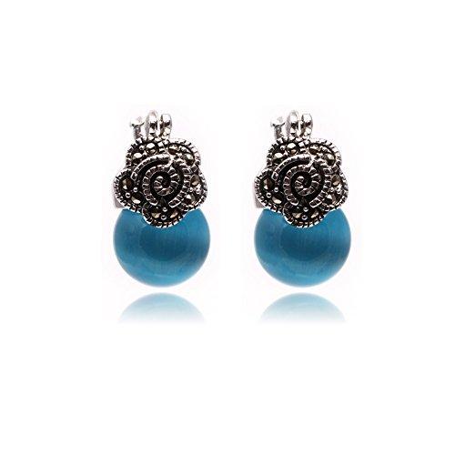 Sweet & Happy Girl's Store 12mm Round Blue Cat Eye Perlen tibetischen Silber Markasit Basis baumeln Bolzen-Band-Blumen-Ohrringe Schmuck