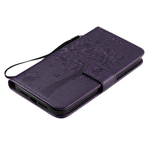 Coque pour iPhone 7 Plus,Housse en cuir pour iPhone 7 Plus,Ecoway Arbre à chat motif papillon de gaufrage étui en cuir PU Cuir Flip Magnétique Portefeuille Etui Housse de Protection Coque Étui Case Co purple