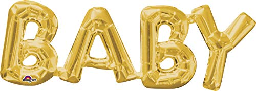 amscan 3376301 Folienballon SuperShape Wort Baby, Gold (Kostüm Spiel Auf Wörtern)