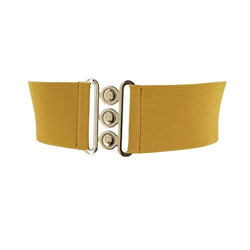 Fashiongen - Damen Breiter elastische gürtel, GLORIA, In Frankreich Hergestellt - Gelbsenf, 3XL / 52 bis 58 -
