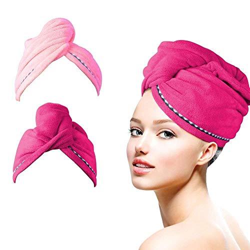 HAUEA Haar Handtuch Wrap Turban Handtuch Mikrofaser Schnelltrocknend Duschhaube Trockner Kopftuch mit Tasten Haartuch 2 Stück (Rot und Pink)