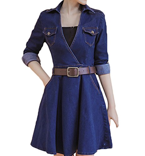 Scothen Women's Jeans Dress Shirt Blouse Dress Tunic Jeans Blouse Spring Summer Elegant Bodycon Long Sleeve Round Button Knielang Epaulet Denim Blouse Dress Party Dress Cocktail Dress With Belt