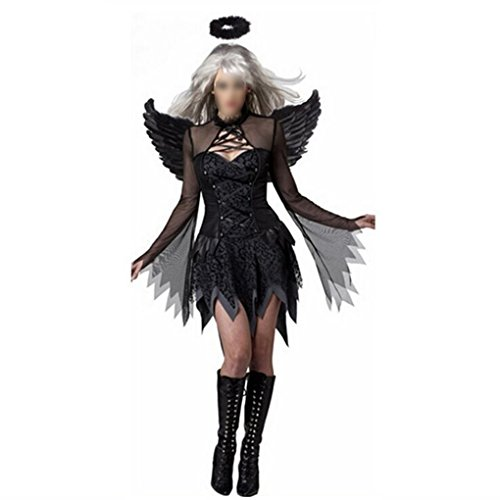 Dress Au Fancy (Halloween Kostüme Frauen Engel mit Flügeln Stirnband Fancy Dress Demon Performance Cosplay Uniformen Outfits)