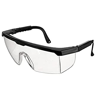 AUAUDATE Adjustable Clear Goggle Protection Glasses Protective Eye Impact Curing Safety Lab / Dental (Black)