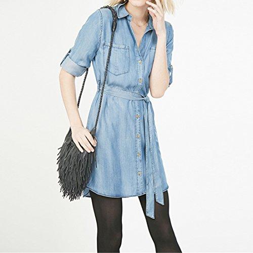 Femmes Lave Denim Bleu Poches Poitrine Taille Coulissee Chemise Simple Boutonnage Lave bleu