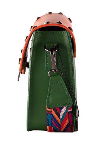 BORDERLINE - 100% Made in Italy - Clutch aus echtem Leder mit Nieten und Schultergurt aus farbigem Stoff - ARIANNA Grün / Kürbis
