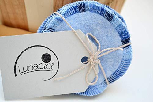 Abschminkpads aus Bio-Baumwolle, waschbar, 10 Stück, Kosmetikpads, wiederverwendbare Wattepads, Gesichtsreinigung, umweltfreundlich, nachhaltig, Zero Waste, hellblau, Lunaciel -