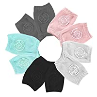 Baby Knee Pads, Dualshine 5 Pairs Baby Crawling Anti-Slip Knee Pads, Unisex Baby Toddlers Elbow Kneepads Safety Protector Suitable for 0-24 Months