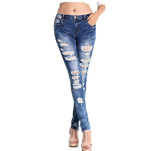Kirin LLC NASKY Ladies/Womens Ripped Skinny Distressed Jeans With Holes Slim Fit Casual Stretchy Trousers Stylish