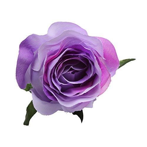 unstblumen Seidenrosen Rosenköpfe Rosenblüten Stoffrosen Deko-Blüte Blumenkopf für DIY Handwerk - Lila, 5,5 x 7,5 cm ()