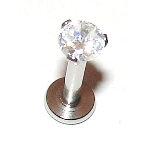 Clear 3mm Prong Set Crystal - 1.2mm x 6mm Labret Stud - For Helix, Tragus, Lip Piercings - Pierced & Modified Body Jewellery