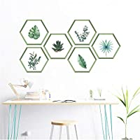 ylckady green plants leaf hexagon photo frame wall decals living room home decor accessories wall stickers pvc mural art 17 * 19cm