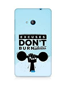 Amez Excuses don't burn Calories Back Cover For Microsoft Lumia 535