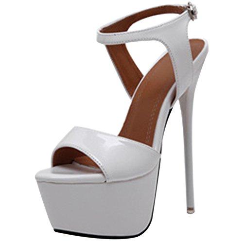 Oasap Damen Offen Plattform High Heels Slingback Sandalen White