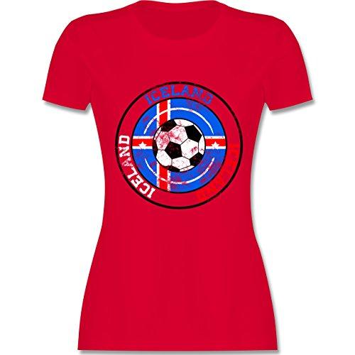 EM 2016 - Frankreich - Iceland Kreis & Fußball Vintage - tailliertes Premium T-Shirt mit Rundhalsausschnitt für Damen Rot