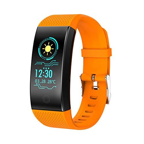 Lindahaot Intelligente Band-Farben-Schirm IP67 wasserdichte Herzfrequenz Fitness Armband Blut-Sauerstoff-Lange Standby-Armband Orange 57 * 20.2 * 10.4 mm - Wasser Schweiß Widerstehen
