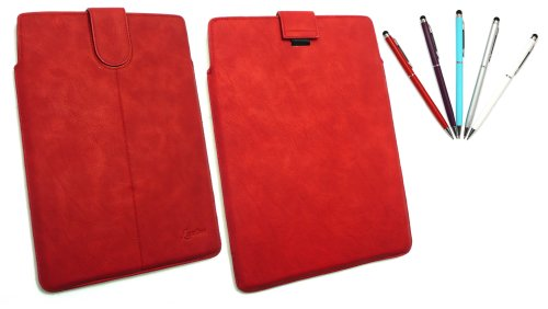 Emartbuy® Stylus Pack - Bundle Von 5 Dual-Function Stylus + Red Pu Leder Secured Slide In Pouch/Case / Sleeve/Halter Mit Pull Tab Mechanismus Geeignet Für Acer Icona Tab A210 (10-11 Zoll Tablet)