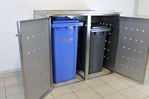 Resorti Mülltonnenbox Basic Edelstahl Kombi 2er 120 / 240 Liter - 3