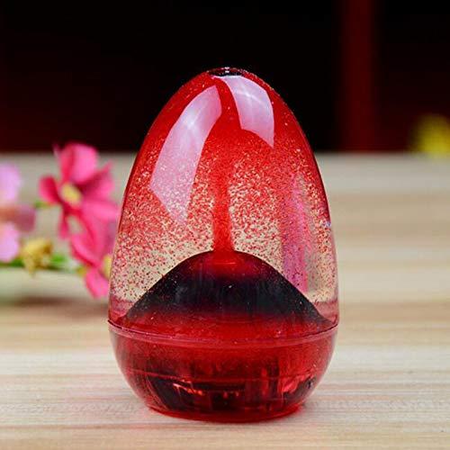 SHUNYUS Flüssiges Sanduhr, Öl Sanduhr Volcano Flüssiges Sanduhr Egg-Shaped Liquid Motion Sanduhr Neuheit & Fun Toy für Schreibtischdekoration - Bottom Volcano Red
