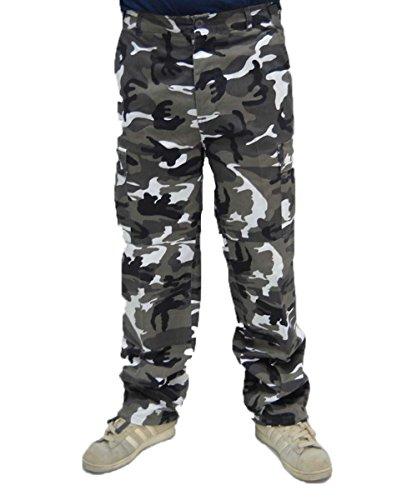 Pantalone pantaloni uomo urban cargo bianco nero lavoro camouflage mimetico