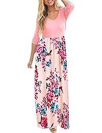 Vestido para Muje Mujer Otoño,BBestseller Mujer Vestido Vestido Largo de Manga Larga a Rayas