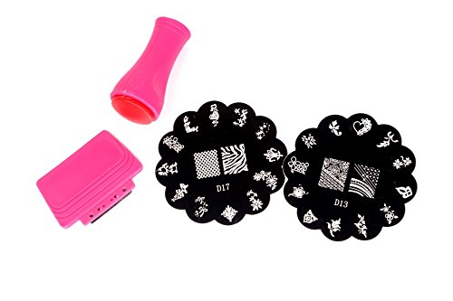 Nail Stylist 2 Pcs Nail Art Stamping Plate, 1 Stamper, 1 Scraper Complete Kit