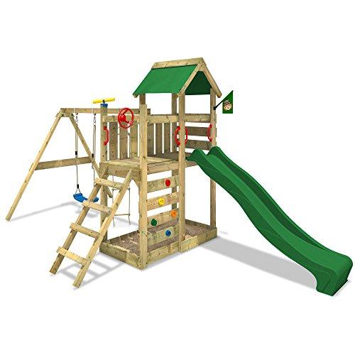 wickey-aire-de-jeux-multiflyer-portique-de-jeux-en-bois-tour-descalade-avec-balancoire-toboggan-vert