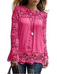Vectry Blusas Encaje Blusas Etnicas Mujer Blusas Encaje Mujer Blusa Espalda  Descubierta Blusa Escote Espalda Blusa 6249f1f36c9