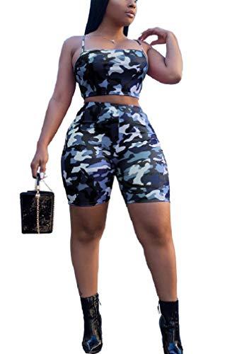 VITryst Damen Sexy Camouflage Crop Cami Top & Shorts Zweiteilige Outfits Gr. XXL, blau -